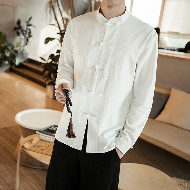 b05793462 MRDONOO 2018 New Chinese Style Mens shirt collar size loose retro male  Chinese costume, Spring Cotton linen jacket C610