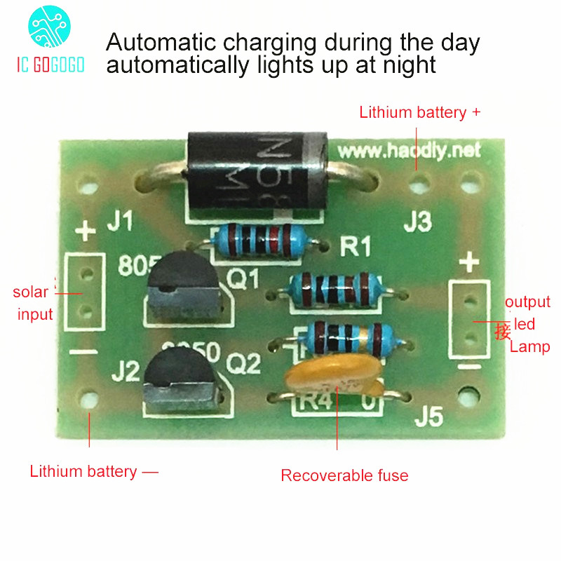 Diy Kits Solar Lamp Board Control Sensor Lithium Battery