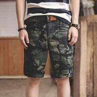 Maden Men Short Pants Retro Army Green Casual Cotton Camouflage Military Beach Clothing Knee Length Loose Big Pockets Bottoms