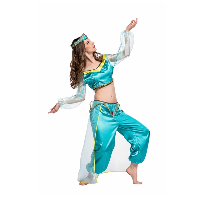 Coslive Halloween Women Fairy Tales Aladdin's lamp Princess Jasmine Costume Sexy Arab Belly Cosplay Carnival Nightclub Dress