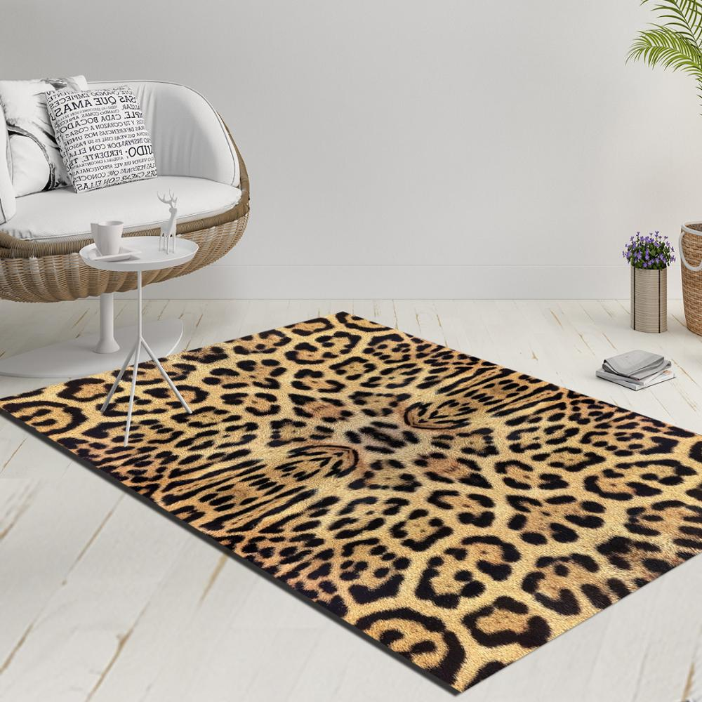 Else Brown Yellow Black Vintage Leopard Fur Decorative 3d Print Anti Slip Kilim Washable Decorative Kilim Rug Modern Carpet