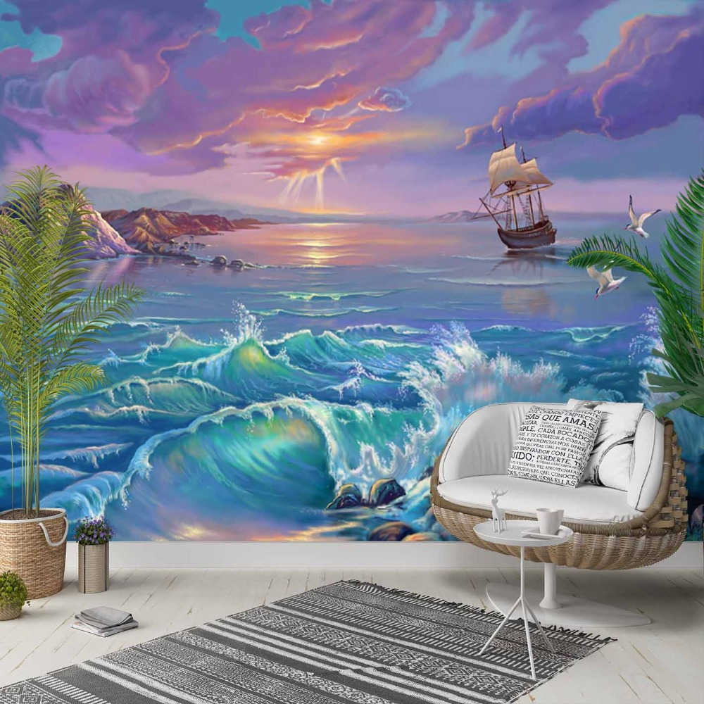 Else Blue Sea Waves Sun Set Ships Clouds 3d Photo Cleanable Fabric Mural Home Decor Living Room Bedroom Background Wallpaper