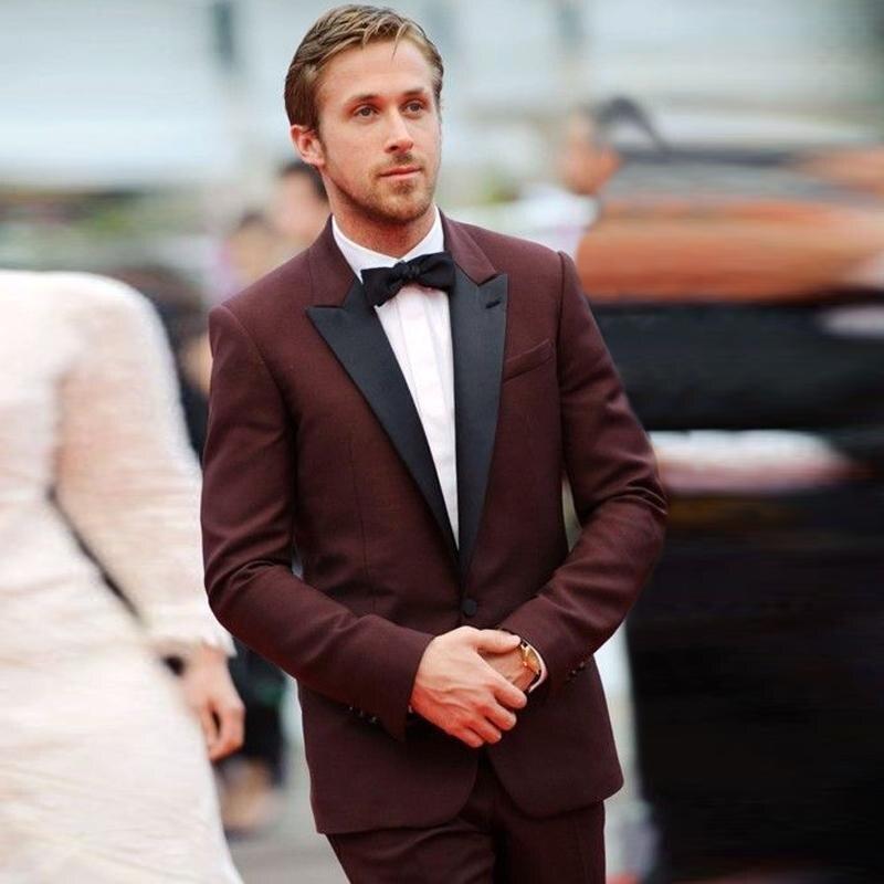 2018 New Tuxedos Jacket Burgundy Tuxedo Jacket Wedding Suits For Men Custom Made Maroon Prom Dress Mens Suits Slim Fit Blazer
