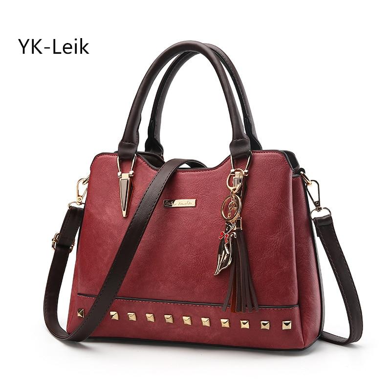 YK Leik 2017 European and American fashion retro luxury women handbags Casual rivet tassel shoulder bags