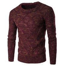 2017 Autumn Winter New War, Casual Sweaters Jumper Men Plain Round Neck Slim Fit Elastic Knitting Pullover Male Wool Knitwear