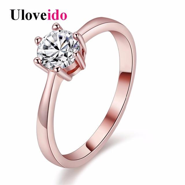Uloveido Female Ring Cubic Zirconia Rings for Women Girls Silver