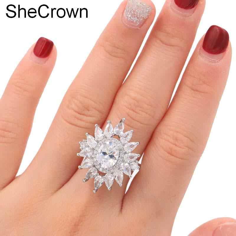 SheCrown สร้าง White Sapphire งานแต่งงานของผู้หญิง Party แหวนเงิน 25x22 มม.