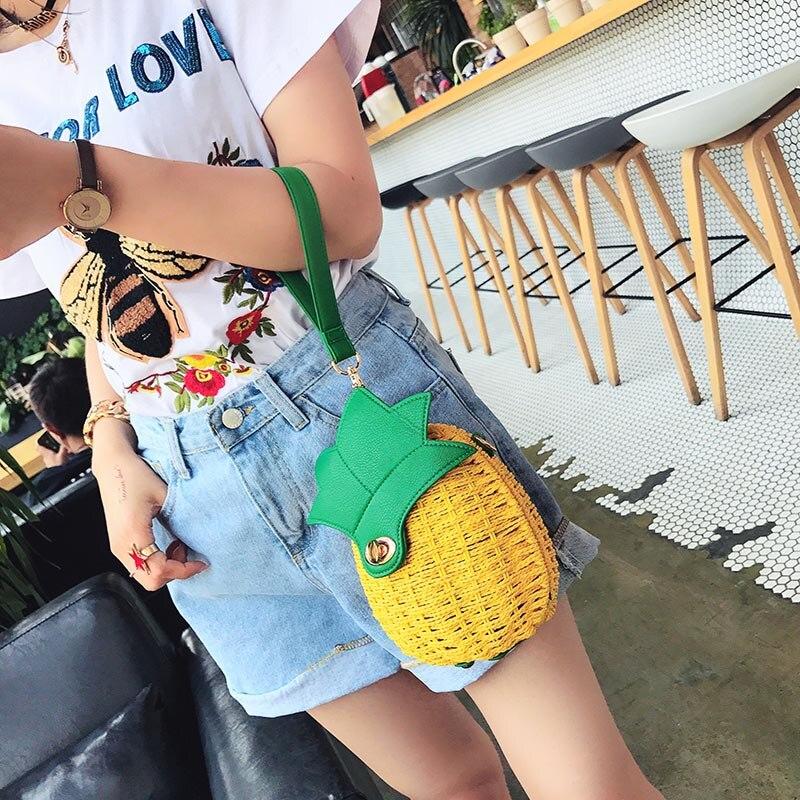 Women Pineapple Handbag Female Messenger Bags Straw Beach Crossbody Bag Lady Fashion Rattan Clutches Tote Knitted SS3010 (13)