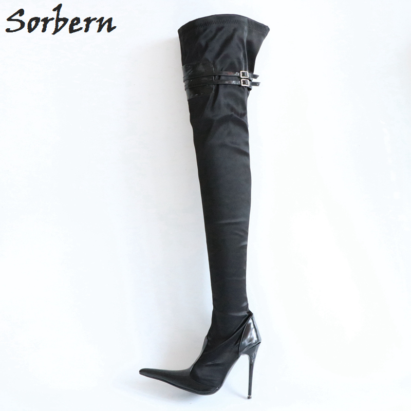 Sorbern Size 32-49 Stilettos High Heel Boots Women 10Cm 12Cm 14Cm Ladies Shoes Crotch Thigh High Boots Stretched Plus SizeSorbern Size 32-49 Stilettos High Heel Boots Women 10Cm 12Cm 14Cm Ladies Shoes Crotch Thigh High Boots Stretched Plus Size