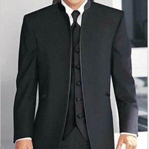 Image 1 - Custom Made por Medida para homens de terno SOB MEDIDA, madarin Collar noivos homens smoking com colete preto (Jaqueta + Calça + Colete)