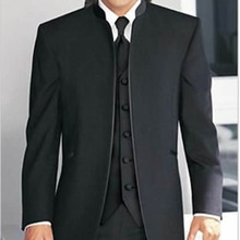 Traje a medida para hombre hecho a medida, negro Madarin Collar novios hombres esmoquin con chaleco (chaqueta + Pantalones + chaleco)