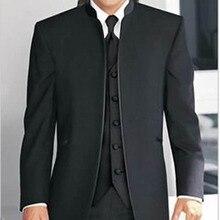 Özel yapma Uyarlanmış erkek ısmarlama takım, siyah Mandalina Yaka damatlar erkekler smokin yelek ile (Ceket + Pantolon + Yelek)