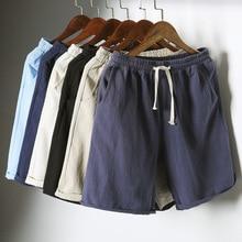 PADEGAO 2018 new mens linen shorts Men Short Pants Summer Linen Shorts pure color elastic waist loose cansual