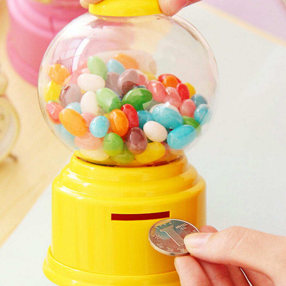 Mini Candy Dispenser Vending Machine Bubble Dispenser Coin Bank kids Money Saving Box