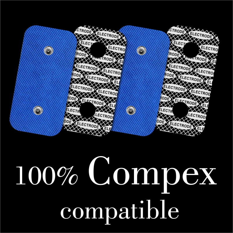 TENSPAD SILVER - 4 Electrodes For COMPEX With Silver Pattern, 50x100mm  With 2 SNAP Connectors