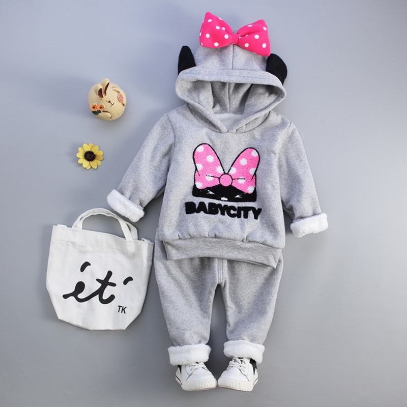 Winter Thicken Warm Pure Cotton Clothes Baby Girl Clothing Sets Cartoon Lovely Pattern Bow tie Hooded 2 Pieces Sports Suit