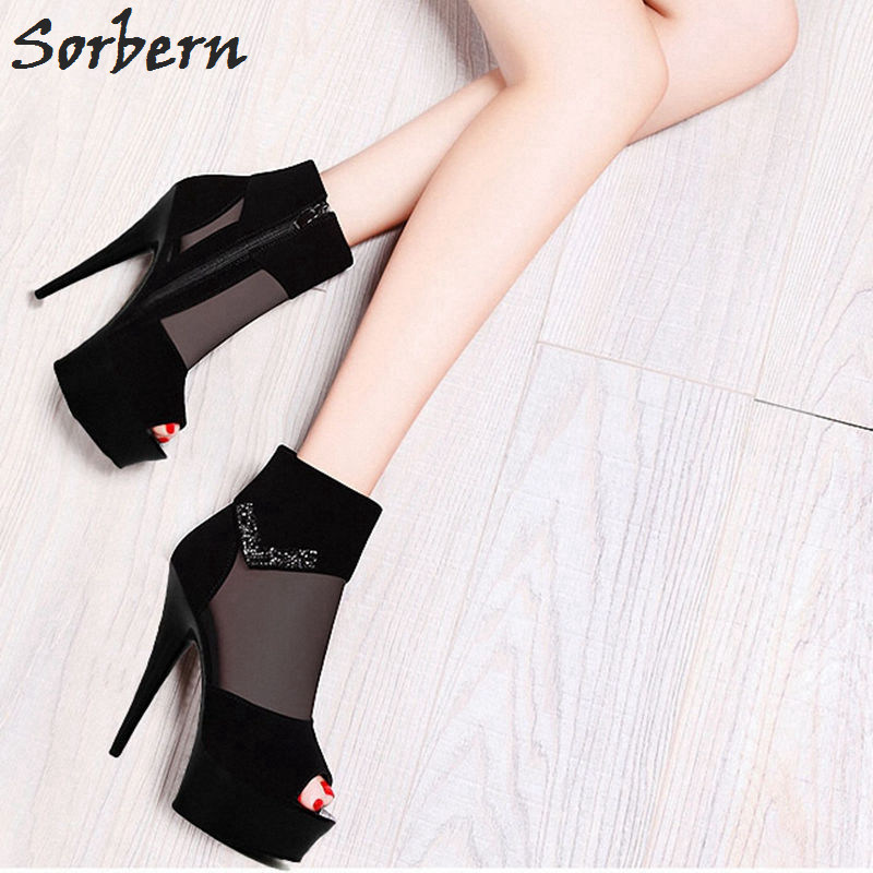 Sorbern Mesh High Heel Ankle Boots For Women Summer Shoes Ladies Spike Heels Crystals Platform Boots Open Toe Heels15Cm/17Cm