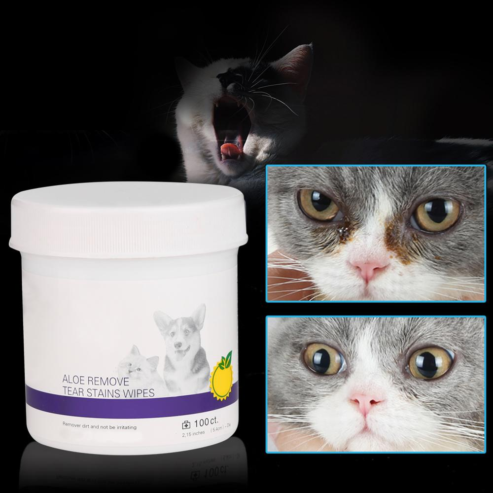 100Pcs Pet Eye Wet Wipes Cat Dog Tear Stain Remover Gentle Non-intivating Cleaning Wipes For Pet Cleaning Paper Towels