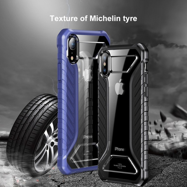 BASEUS Luxury Phone Case for iPhone XS Max XR Xs Silicone + Acrylic Hybrid Anti-slip Shockproof Mobile Cover for iPhone Xs 5.8