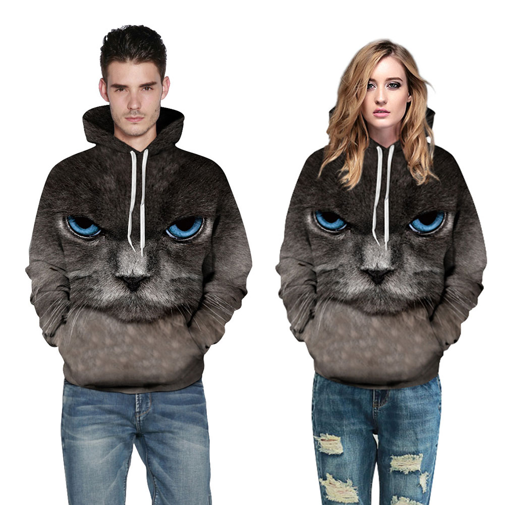 Harajuku Cool Cat Hoodies Unisex Couple Hooded Sweatershirt Women & Men Outwear Funny Animal Pullovers