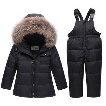 2018 New Winter Kids Boys Girls Real Fur Hooded Duck Down Jacket Jumpsuit Warm Snow Suit Windproof Children Parka Coat Ski Suit