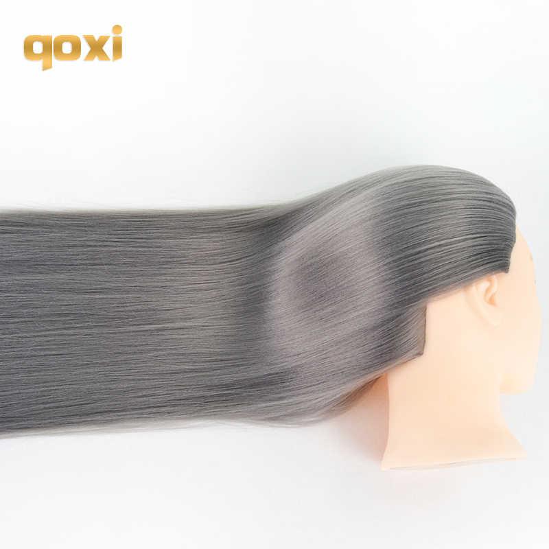 Qoxi Professional training головки с длинными толстые волосы практика парикмахерский Манекен Куклы укладки волос maniqui тете для продажи