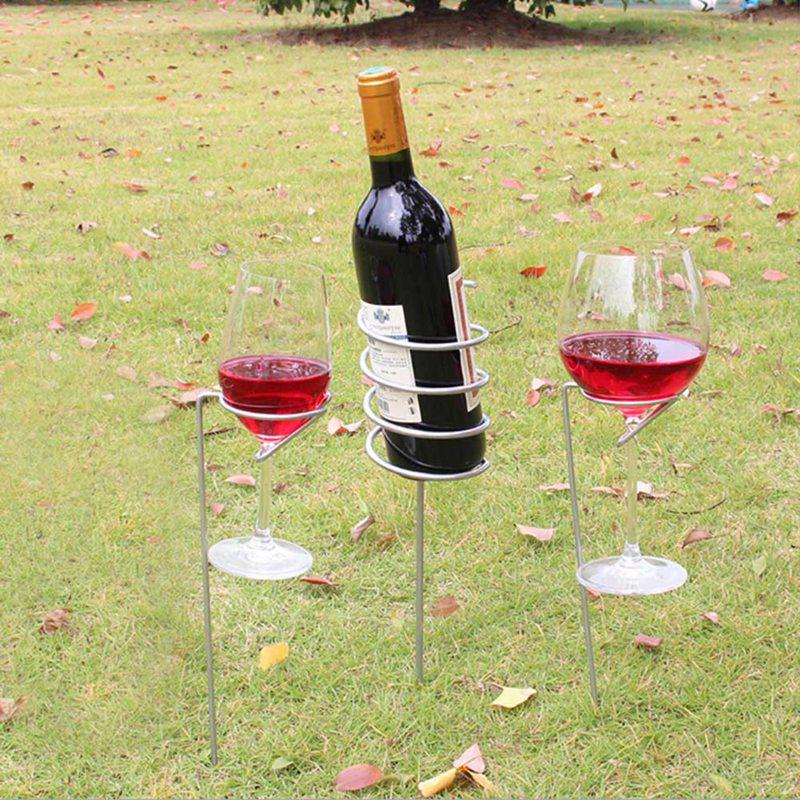 3pcs Set Wine Glass & Bottle Holder Stake Support Metal lawn Picnic Camping Wine goblet Glass Holder Frame Garden BBQ Supply