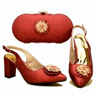 Bright shinning red color shoes and bag matching set low heel 2.7 inches with size 37 to 42 nice shoes matching bag set SB8332-4