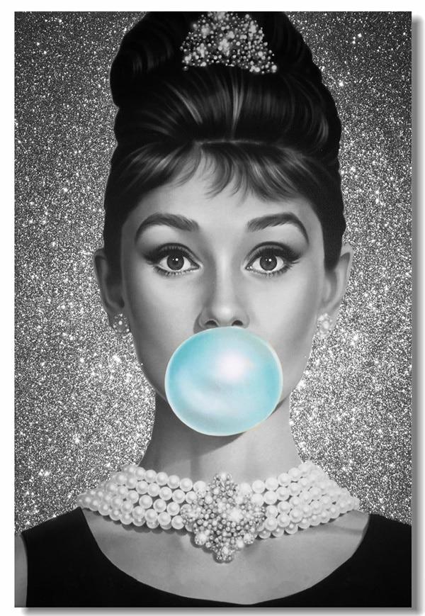 Custom canvas wall decor bubble audrey hepburn poster for Audrey hepburn mural