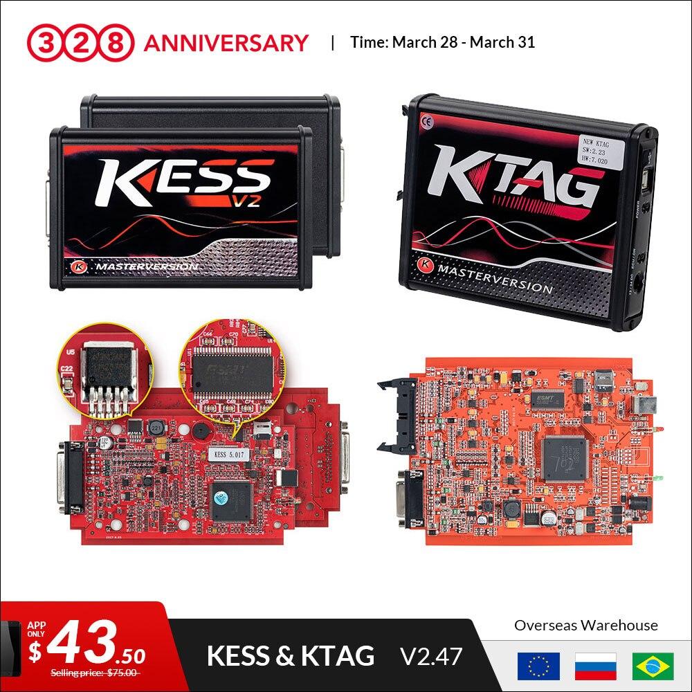US $45 75 39% OFF|KESS v2 V5 017 EU Red OBD 2 ECU Programming tool No Token  limit KTAG V7 020 V2 47 4 LED Master Version car truck chip Tuning Kit-in