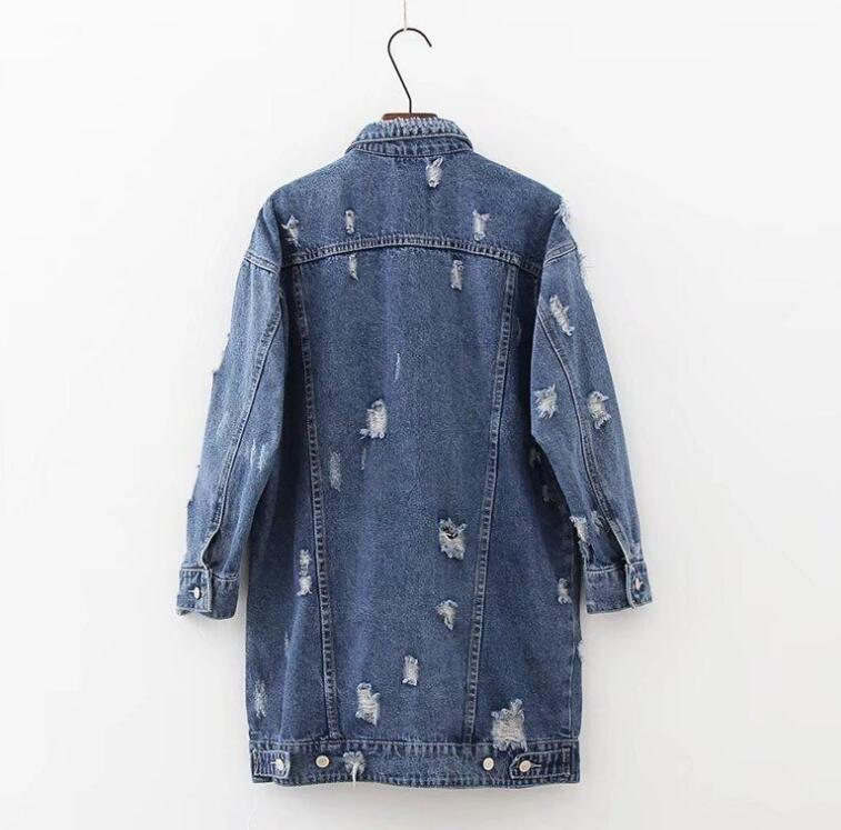 Porté Baggy La Denim Une Par Mendiant Revers De Déchiré À Le Longue En Trous Veste Robe Blue Mode Dans Jean qCfqrY