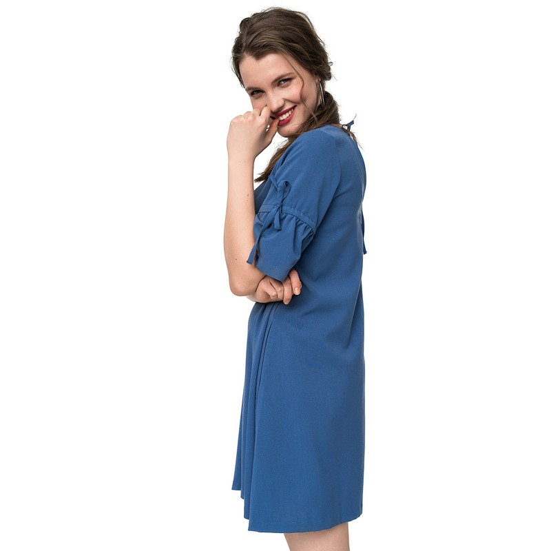 Dresses dress befree for female  half sleeve women clothes apparel  casual spring 1811347569-40 TmallFS exaggerate bell sleeve buttoned keyhole dress