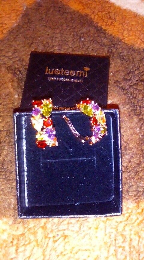 LUOTEEMI Hot Selling Mona Lisa Multicolour AAA Cubic Zirconia Fashion Earrings for Women Girl Christmas Gift Brincos Jewelry