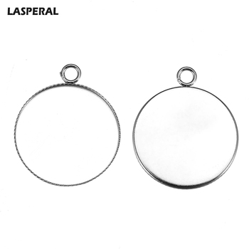 LASPERAL 10Pcs Mosaic Silver Color Tone Round Shaped Charms For Jewelry Making Charms Hole Circle Stainless Steel Charms 2631mm circle