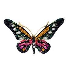 Модные Украшенные стразами в форме бабочки брошь Булавки элегантное женское платье Свадебные Брошь Булавки высокое качество Ювелирные изделия из кристаллов