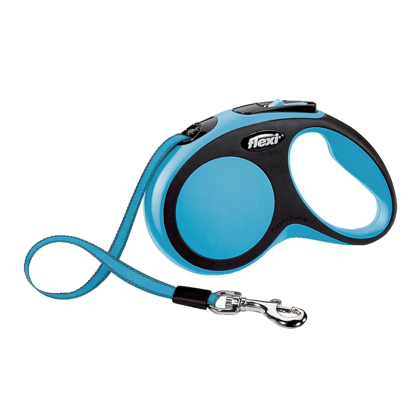 Lead tape measure Flexi for dogs New Comfort S (up to 15 kg), tape, 5 m, blue/black. Dog Accessories 3 meter steel engineering pocket tape measure