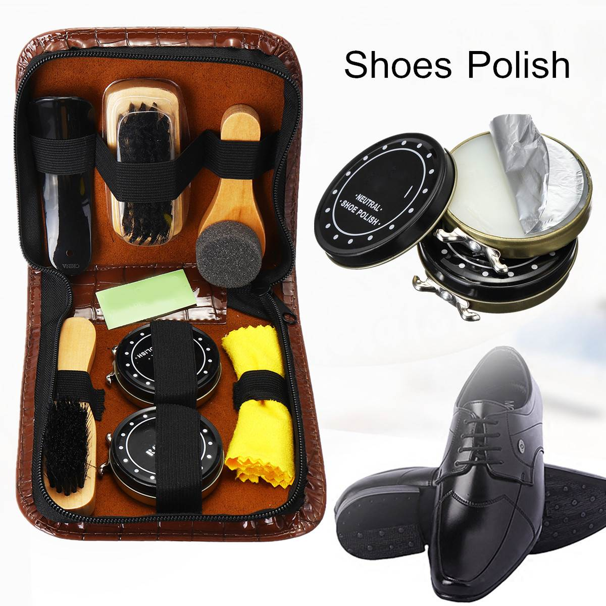 BSAID Shoe Polish Set 7 In 1 Portable Care Kit Shine Travel Case Clean Brush Polishing For Leather Shoes From