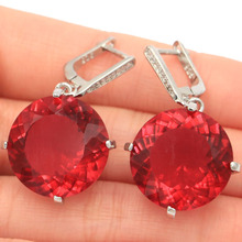 SheCrown 14.3g Big Round Gemstone 20x20mm Rubellite White CZ Silver Earrings 38x20mm