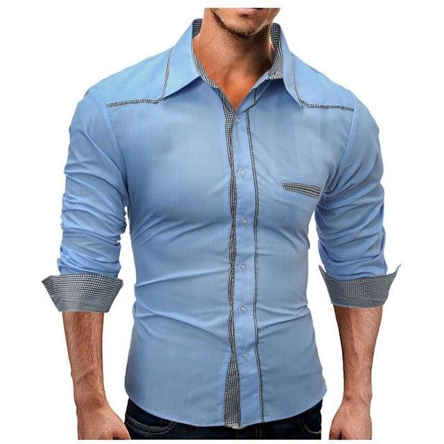 Denim Heren Overhemd.2017 Nieuwe Aankomst Mannen Shirt Lange Mouw Streep Shirts Heren