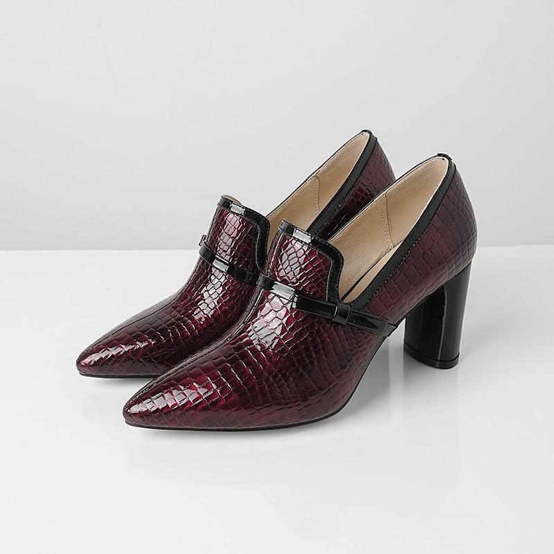 33 Habillées En Chaussures 43 Hauts Femme À Cuir Noir rouge Sexy Talons Cm 7 Pour 2019 Mode Noir Souliers qAZx7t