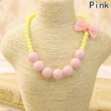 Hot Fashion Jewelry Beads Necklace Little Girl Baby Kids Princess Bubblegum Necklace For Party Dress Up Birthday Gifts(China)