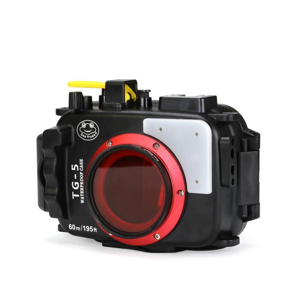 Seafrogs 195FT/60M Underwater camera waterproof diving housing for Olympus TG-5 Black as PT-058