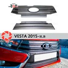 Для Lada Vesta 2015-зимняя крышка на переднюю решетку радиатора бампер пластик ABS охранные предметы Защитная оклейка автомобилей украшения