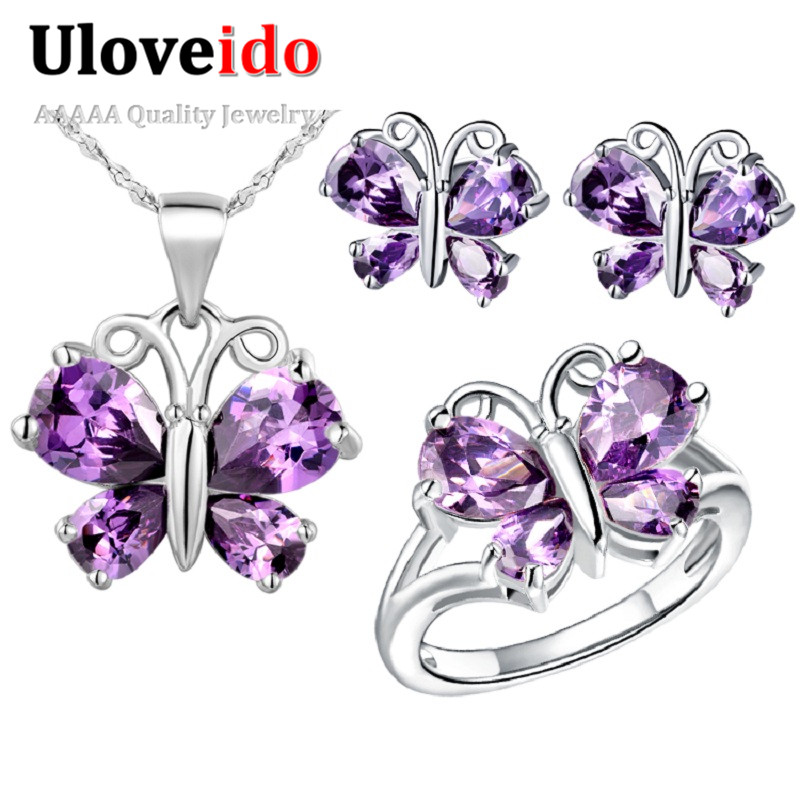 Uloveido Kids Jewelry Sets Butterfly Silver Plated Purple CZ Diamond Party Bridal Wedding Ring Necklace Earring