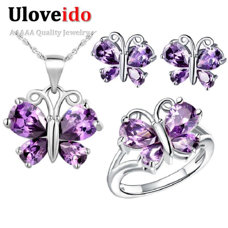 Aliexpresscom Buy Uloveido Butterfly Kids Jewelry Sets Silver