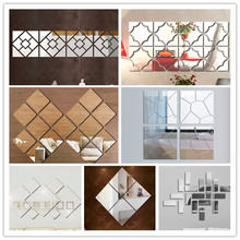 Square Circle Crystal Acrylic Mirror Decorative Sticker 3D Wall Sticker Wall Decal Home Decol Home Decoration Shower Bathroom