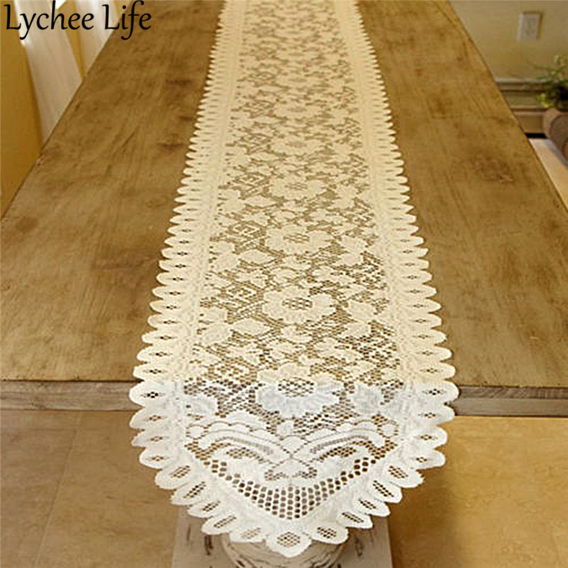 Floral White Vintage Lace Table Runner Solid Color Classic Table Runners Modern Home Hotel Party Table Decor