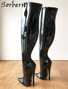 Image 4 - Sorbern 65cm קשיח פיר מותאם אישית עגל אמצע ירך 18cm פגיון אתחול שחור פטנט נשים נעליים גבוהה עקבים חדש רך פנימי מגפיים