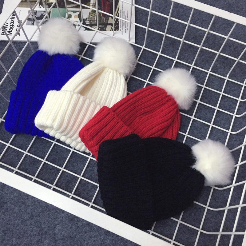 New Pom Poms Winter Hat Knitted Thickened Cotton Women's Hat Warm Pom Poms Hats For Women Girl Knitted Beanies Female Cap купить готовый бизнес в кредит в ижевске