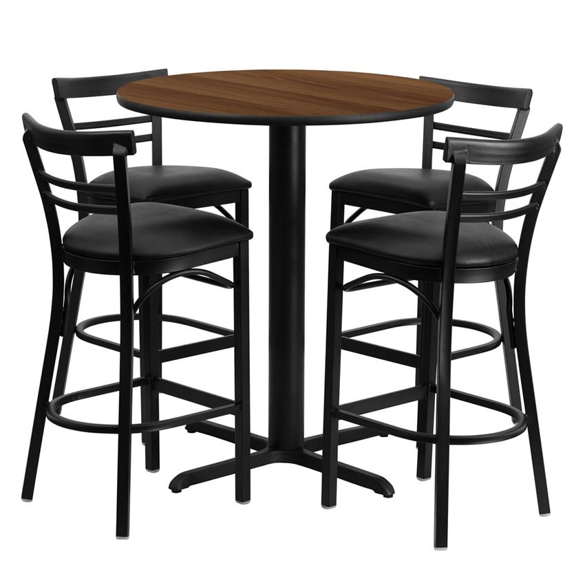 все цены на Flash Furniture 24'' Round Walnut Laminate Table Set with Ladder Back Metal Bar Stool and Black Vinyl Seat